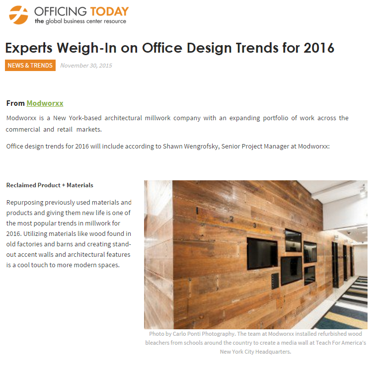 Modworxx featured in article about 2016 Trends in Officing Today, November 2015