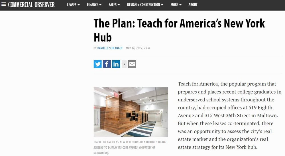 Modworxx featured in article about Teach For America project  in The Commercial Observer, May 2015