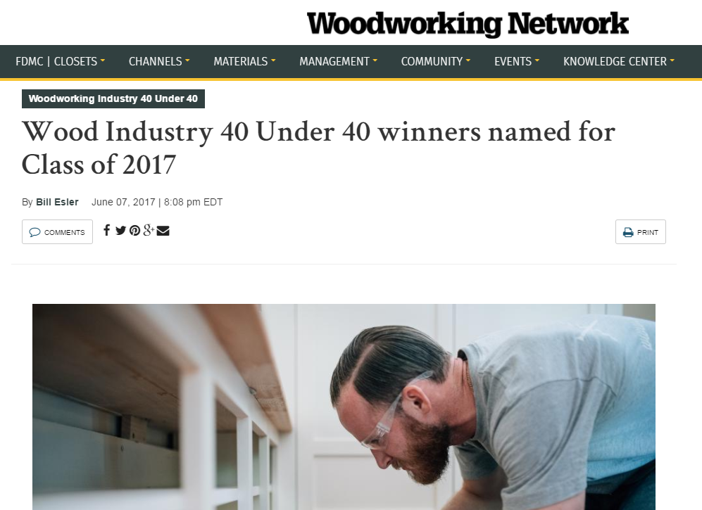 Joe Patrovich named as Winner of the of the 2017 Wood Industry 40 Under 40 Award
