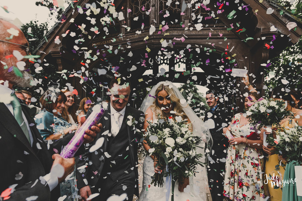 Epic confetting wedding photo in Chester