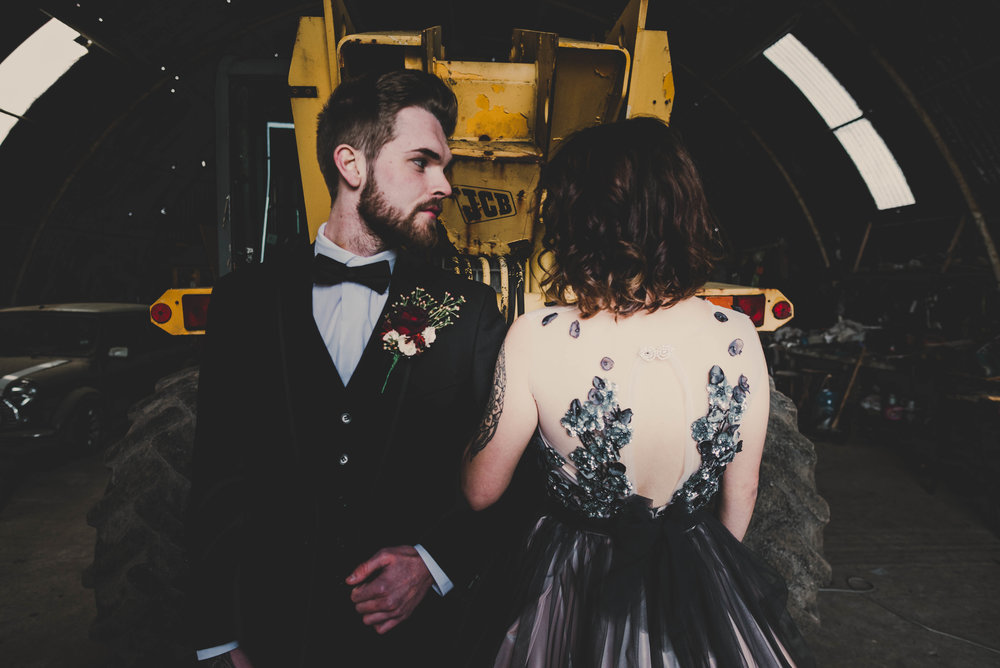 SHOOT: An edgy alternative and bad ass shoot in a rustic wedding barn - Eden Wedding Barn / Cumbria