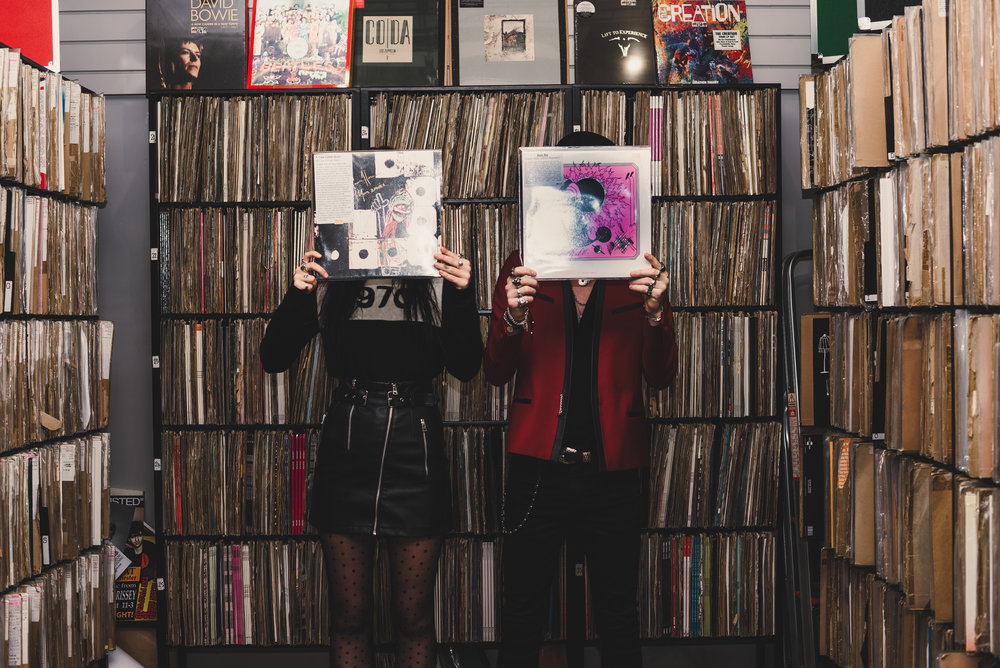 fashion bloggers in record shop manchester