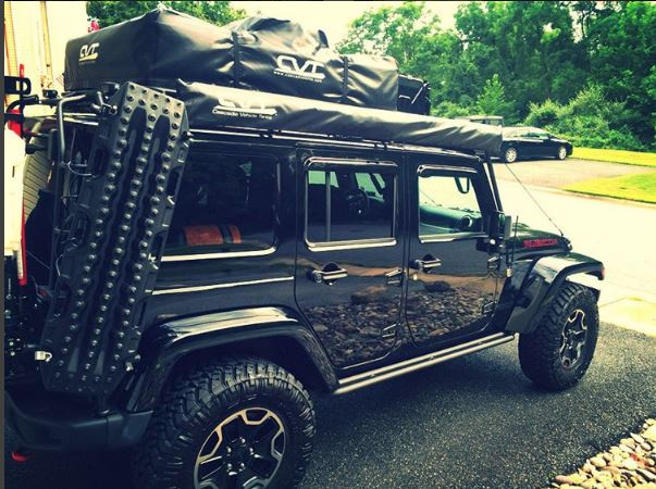 """Profile image. Nitto Trail Grapplers, 33"""" and Max Trax mount. (Note: old CVT tent pictured.)"""