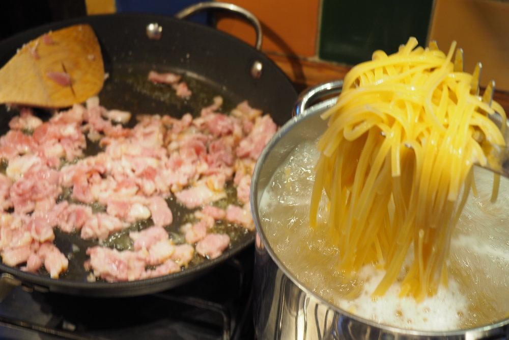 Pasta carbonara garlic bread recipe relays food for all days linguine pasta carbonara recipe forumfinder Image collections