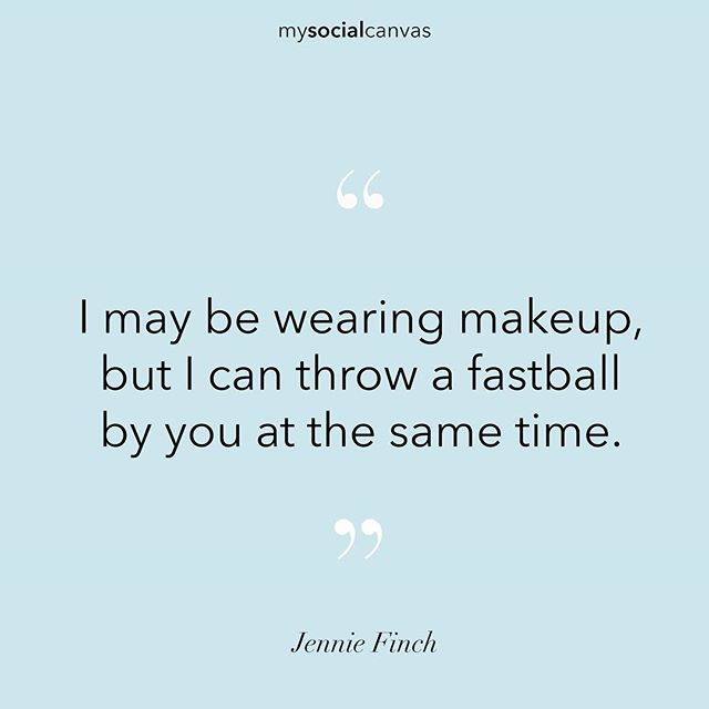 We love this quote from Olympian Jennie Finch! Perfect Friday reminder ⚾️💄💯 #Friday #TGIF #designalifeilove #jenniefinch