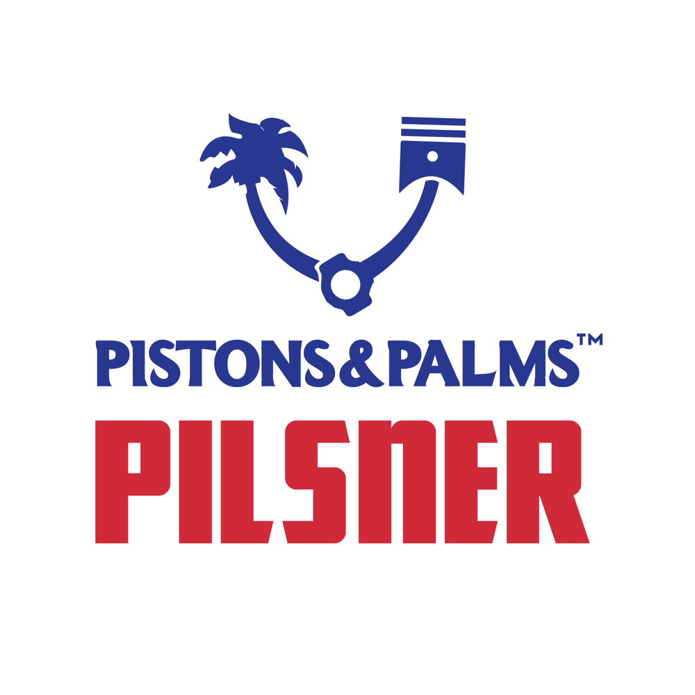 PISTON & PALMS -pilsner - Clean, West Coast style hoppy Pilsner with aroma of grapefruit peel and lemon. Tastes dry with lots of citrus notes from the addition of centennial. Perfect beer for a sunny San Diego day to please both the 'light' beer drinkers and hop heads. Made to pound more than a few.
