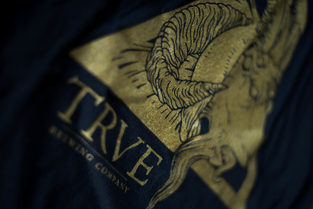 Trve Brewing. Print method BOLD. Screen printed on a Next Level shirt. Printed by A Small Print Shop.