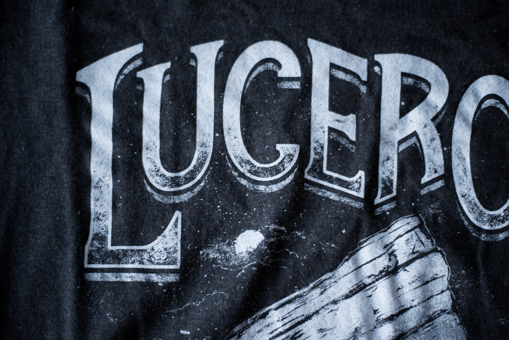 Lucero at Red Rocks. Print method SOFT. Screen Printed on a Tultex shirt. Printed by A Small Print Shop.