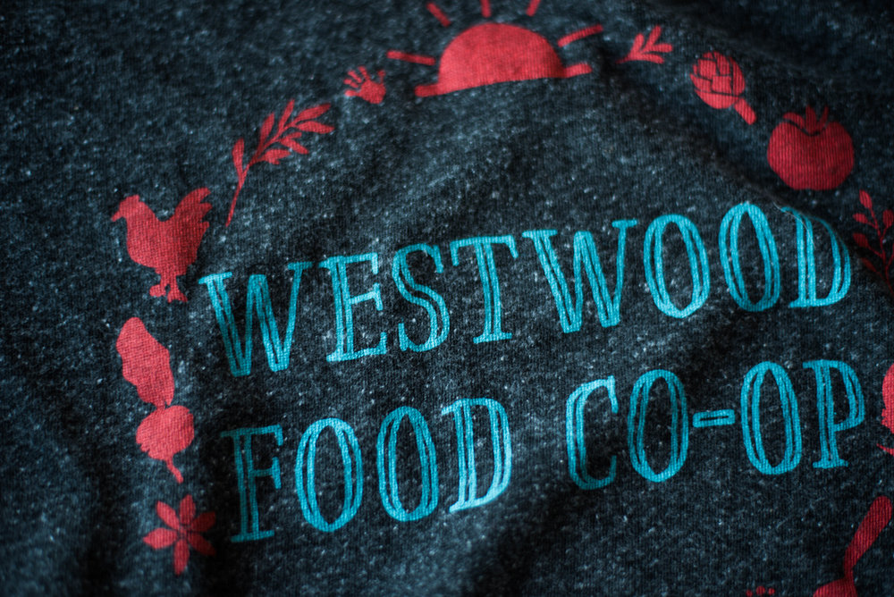 Westwood Food Co-Op. Print method VINTAGE. Screen printed on Royal Apparel shirt. Printed by A Small Print Shop.