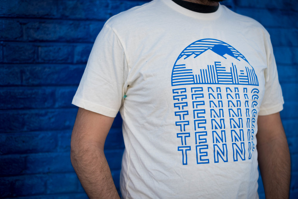 Tennis. Print method VINTAGE. Screen printed on Next Level shirt. Printed by A Small Print Shop.
