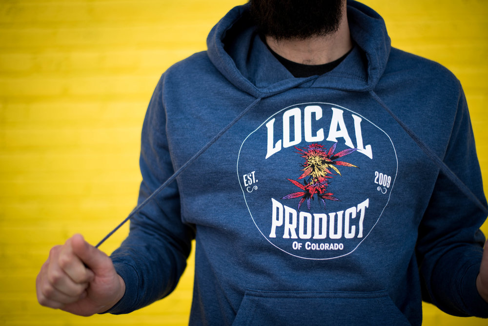 Local Product. Print method BOLD. Screen printed on a Tultex pullover hoodie. Printed by A Small Print Shop.