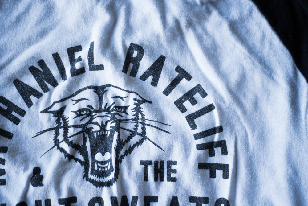 Nathaniel Rateliff & The NightSweats. Print method VINTAGE. Screen printed on a Los Angeles Apparel Raglan. Printed by A Small Print Shop.