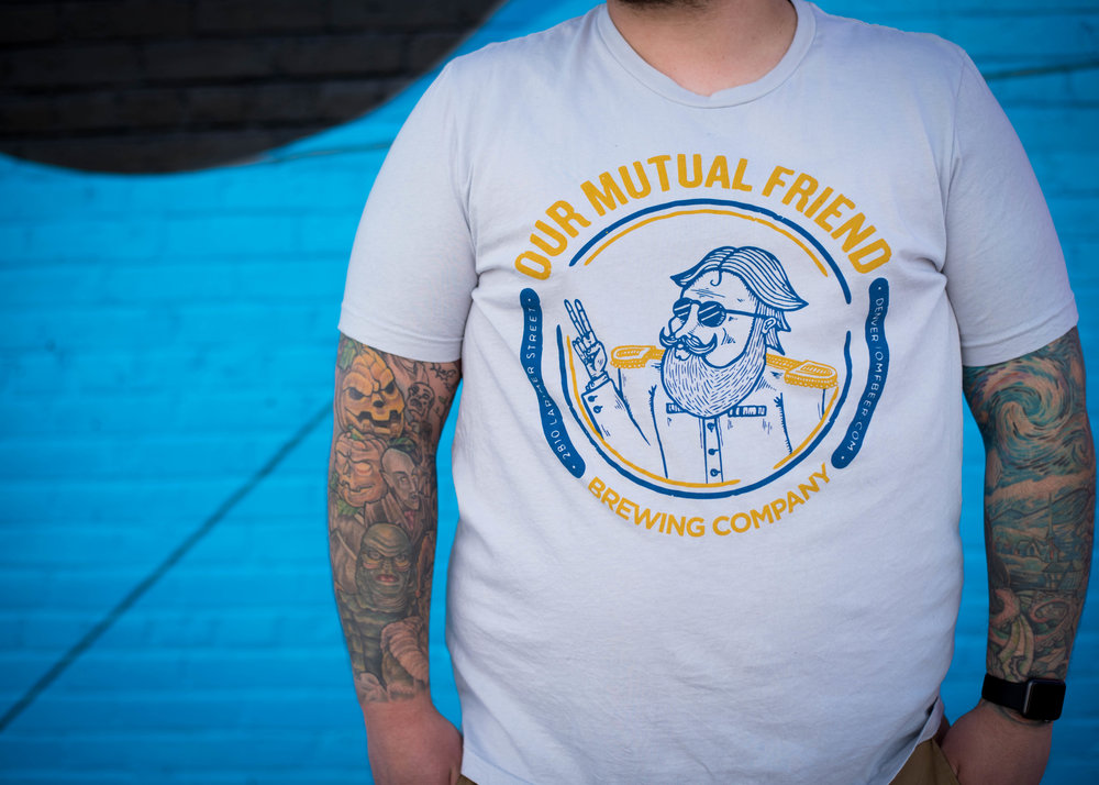 Our Mutual Friend Brewing Co. Print method VINTAGE. Screen printed on a Bella+Canvas shirt. Printed by A Small Print Shop.