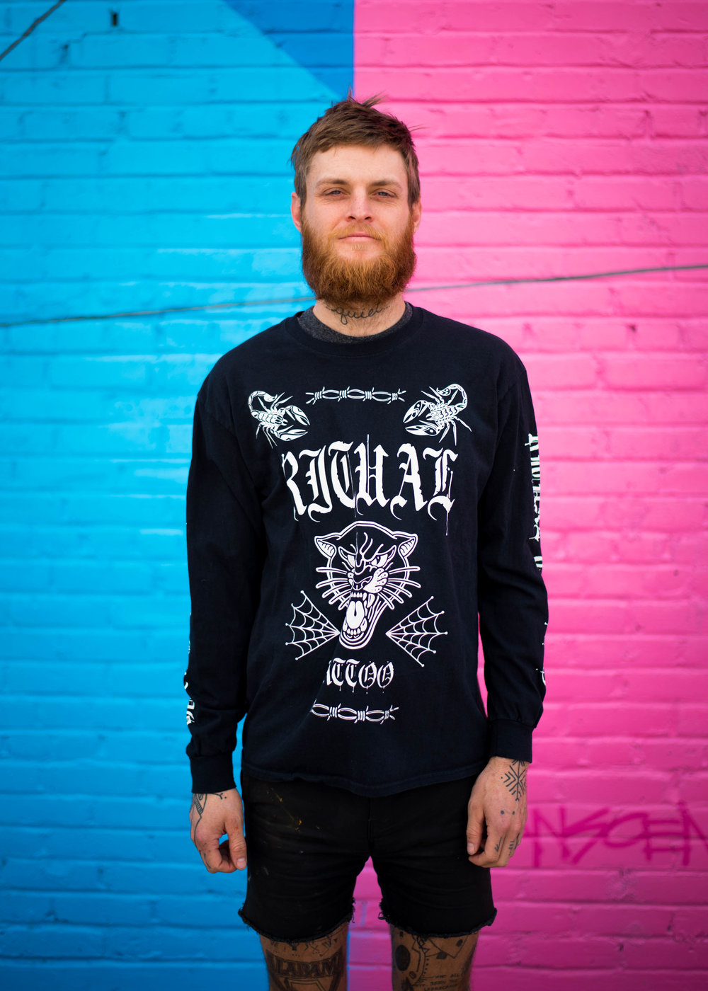 Ritual Tattoo. Print method BLEACH. Screen printed on a Gildan long sleeve shirt. Printed by A Small Print Shop.