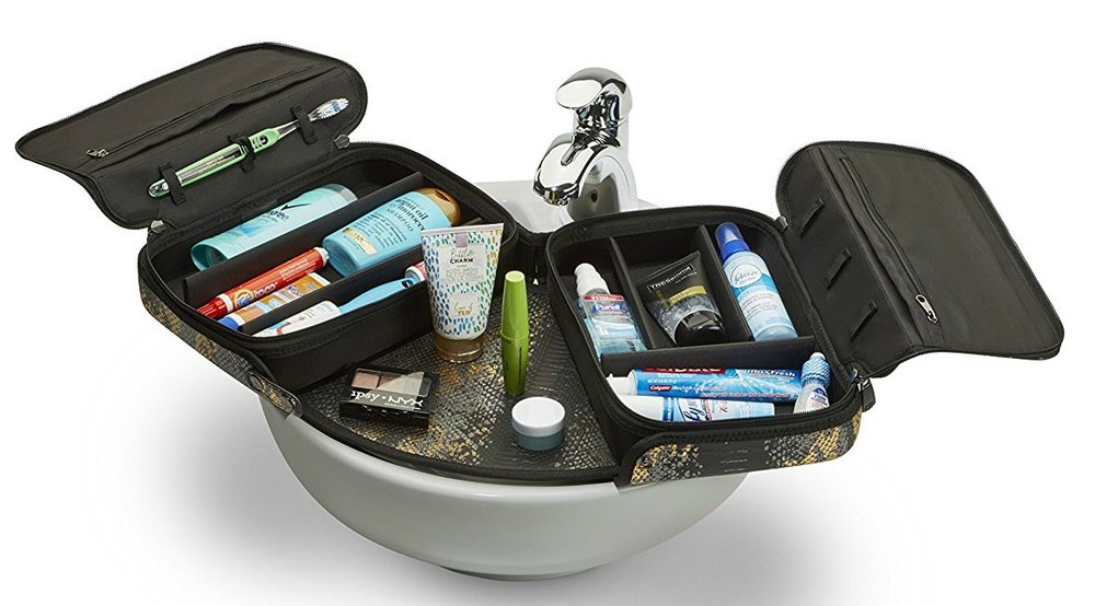 ORGO  This innovative toiletry case provides easy organization, solid structure and lightweight portability for all your toiletry needs. The added bonus of being able to spread the ORGO out over a vanity sink provides great space for getting ready, especially with limited space.