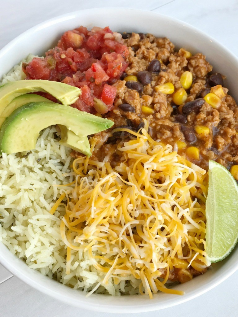 Source: Together as Family: Turkey Taco Bowls   https://togetherasfamily.com/turkey-taco-burrito-bowls/