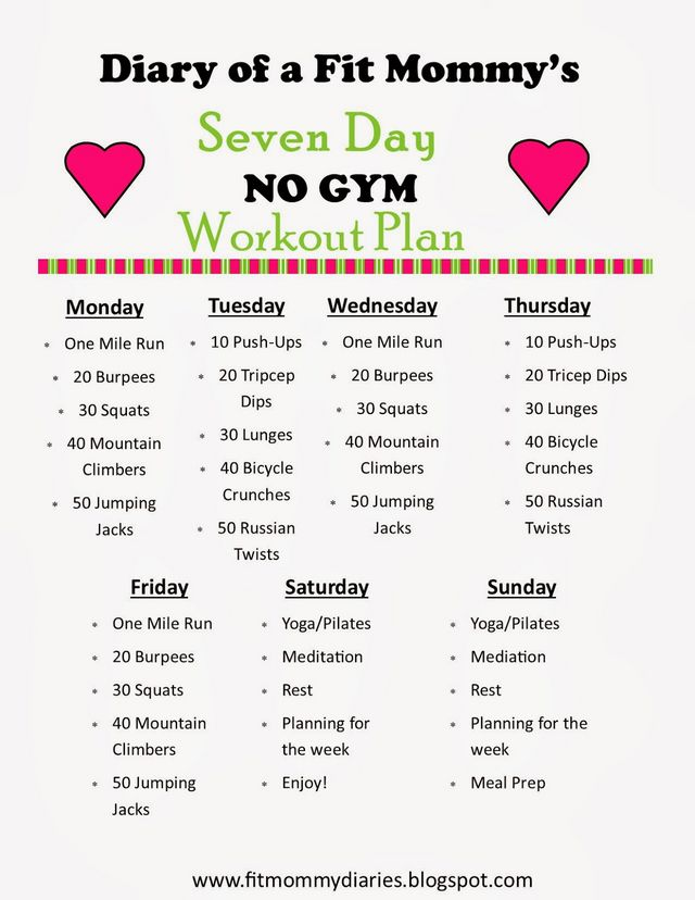 Source: Bloglovin.com  https://www.bloglovin.com/blogs/diary-a-fit-mommy-14421735/diary-a-fit-mommys-7-day-no-gym-workout-plan-2160450713