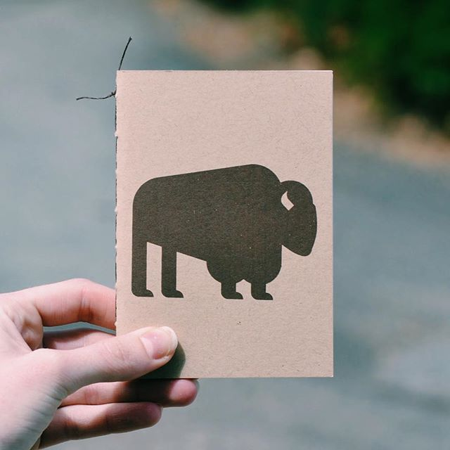 A little hand screened buffalo notebook. 🌲