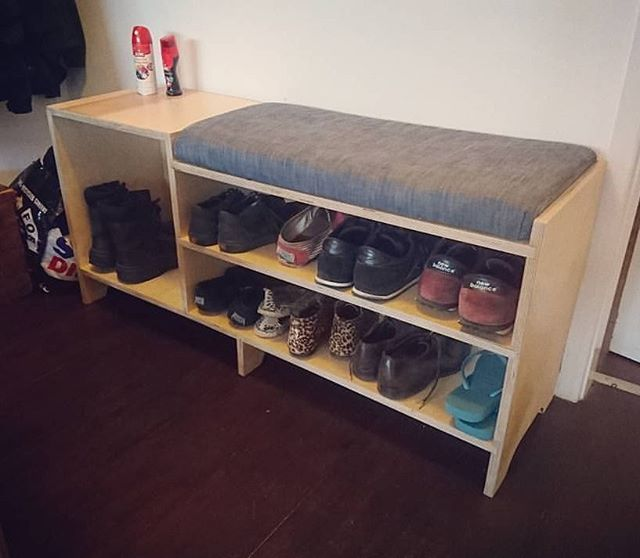 Here's an oldie that we hadn't put up - this custom shoe rack with cushion bench. It was one of the first pieces we made and fun to look back on!