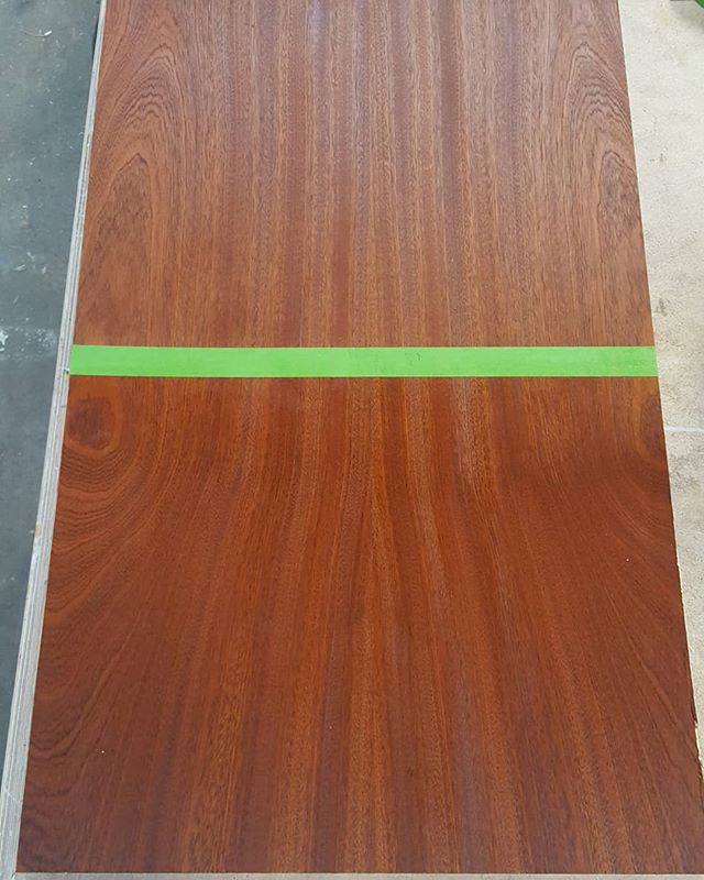 Testing some finishes on this beautiful Sapele plywood we got in stock for a project. The ribbons in the grain pattern work so well for matching door fronts or large sides of cabinets.