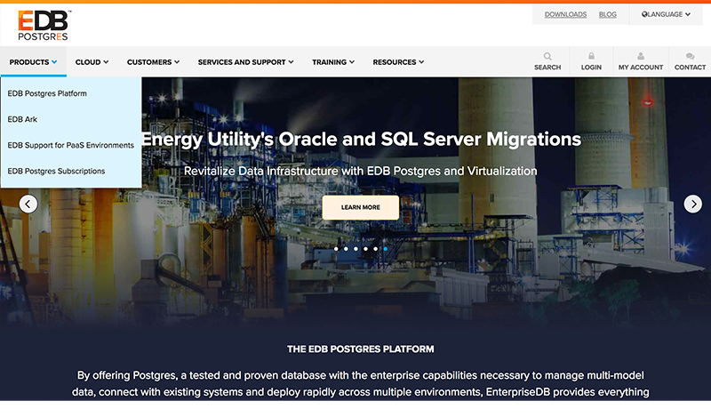 EDB Postgres Data Management Website