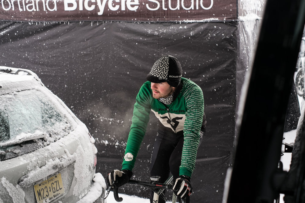 SAM O'KEEFE spinning the legs out before a snowy pre-ride
