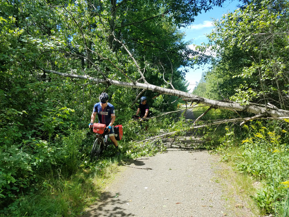 The original plan was to camp the entire route, but with the weather on day one the trails we planned to take were covered with downed trees - often times every fifty feet.