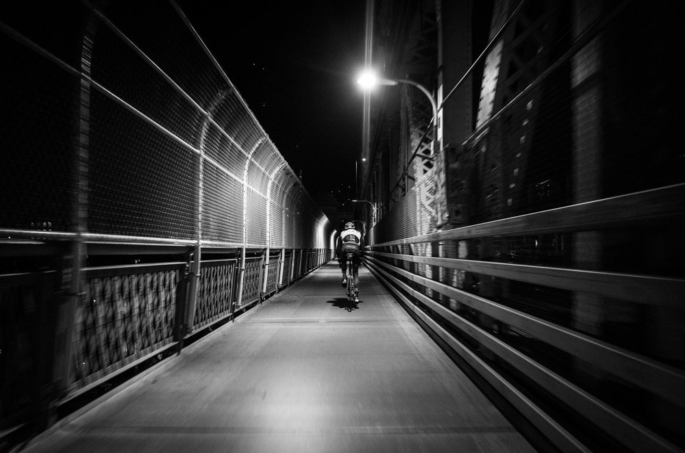 Cutting through an empty city at 5AM on the way to Prospect Park (photo @photorhetoric)