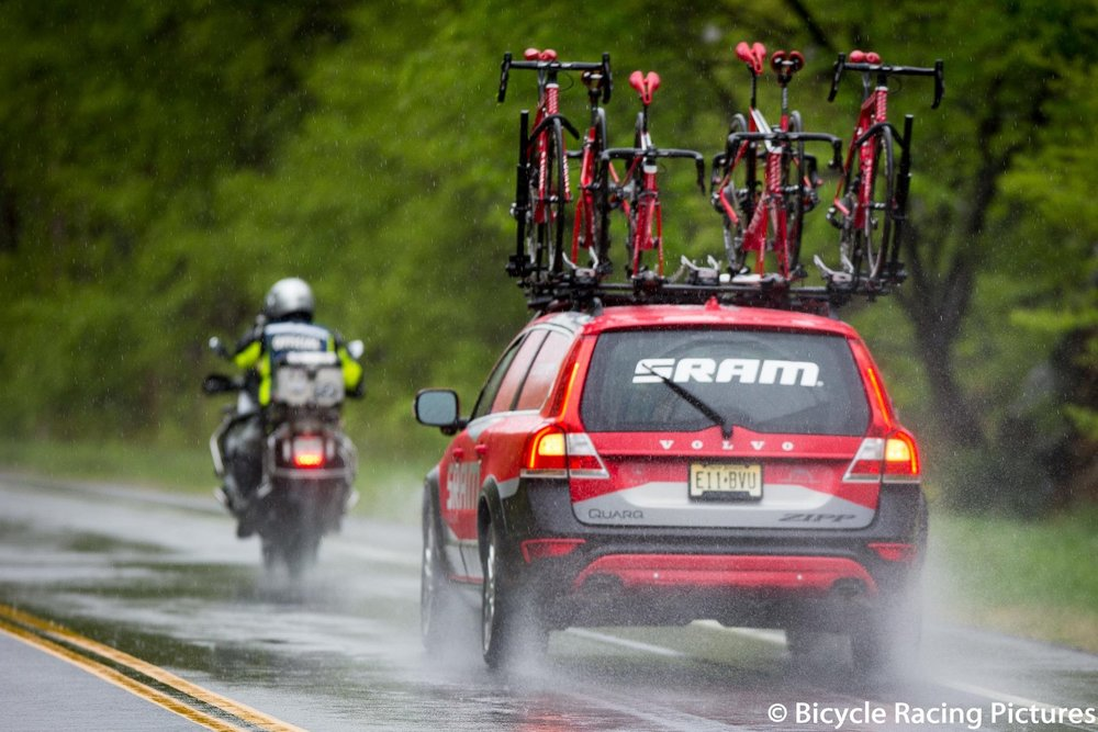 SRAM Neutral Support escorted by the Moto Cavalry - a small glimpse at the huge logistical challenges faced by hosting a road race with top tier safety features at Harriman State Park.
