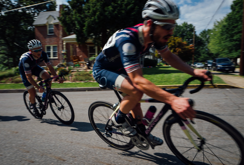 Mat Street  and  Colin Tanner  in action for To Be Determined at the 2015 edition of the Tour de Millersburg