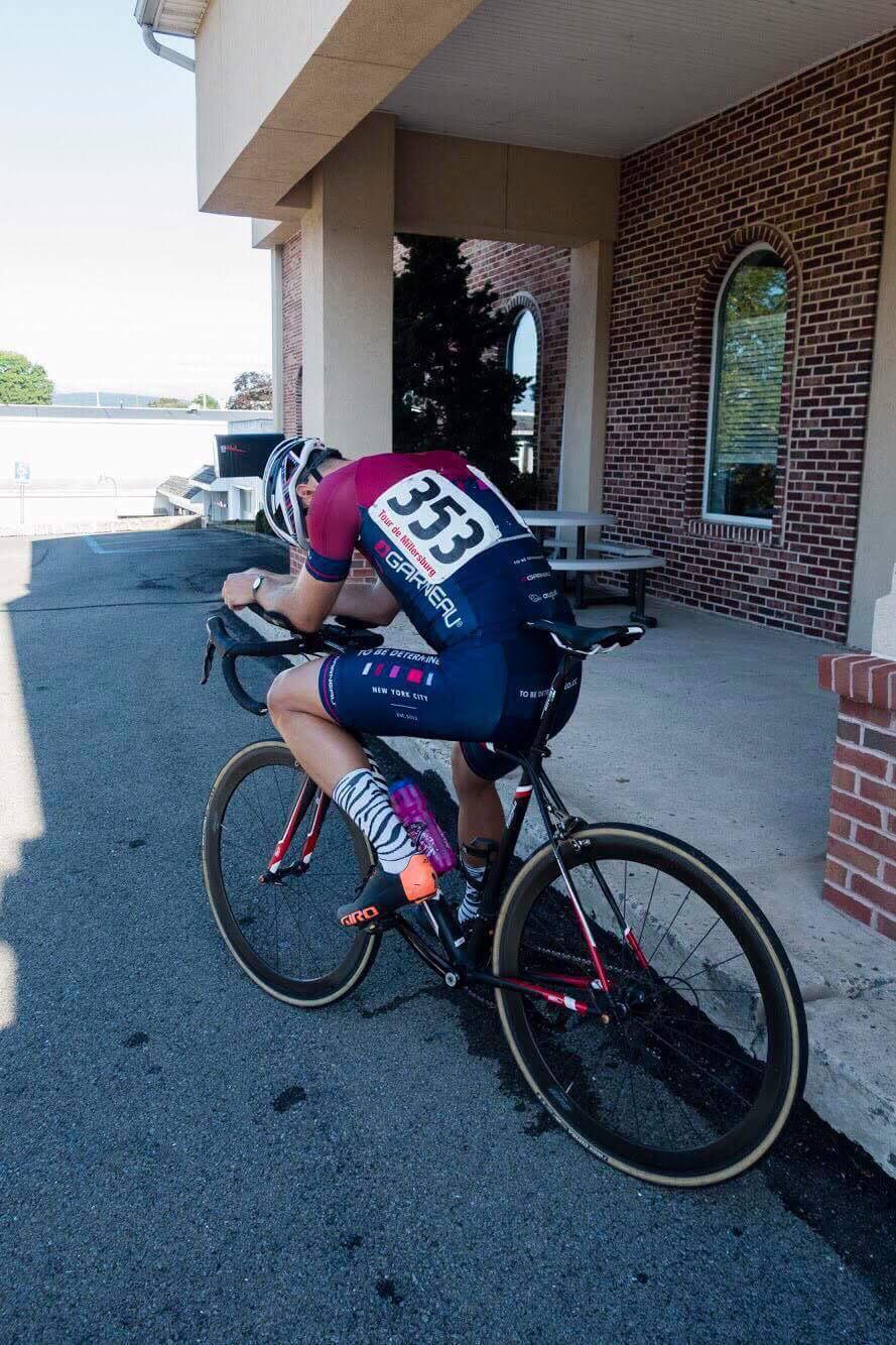 Steve tests his TT tuck pre-race.