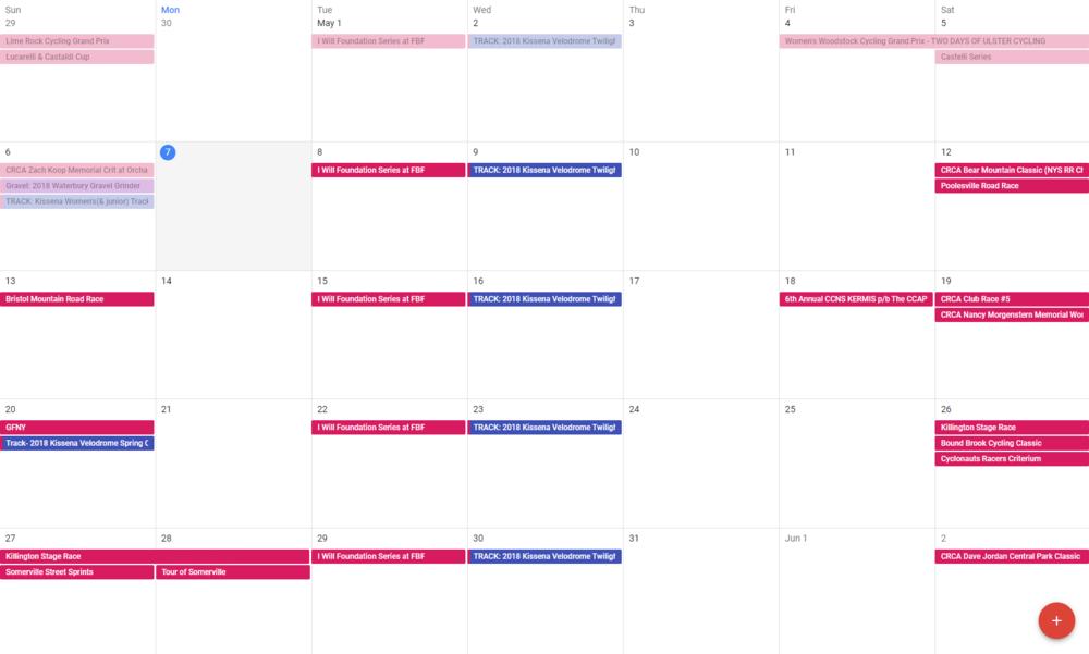 The TBD Race Calendar as of April 2, 2018