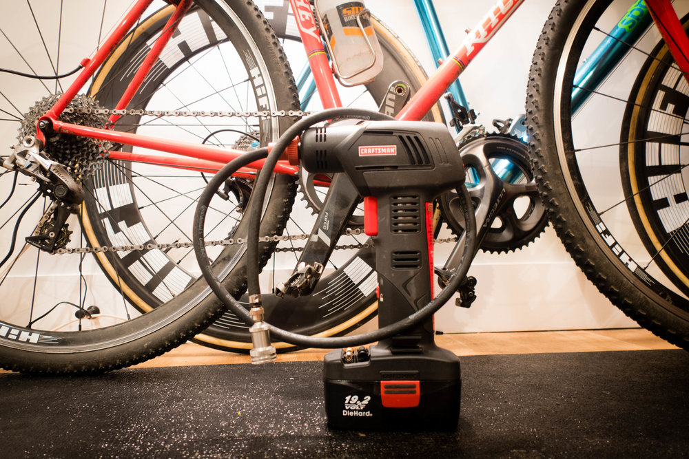 The finished product: a handheld air compressor that is perfect for CX.