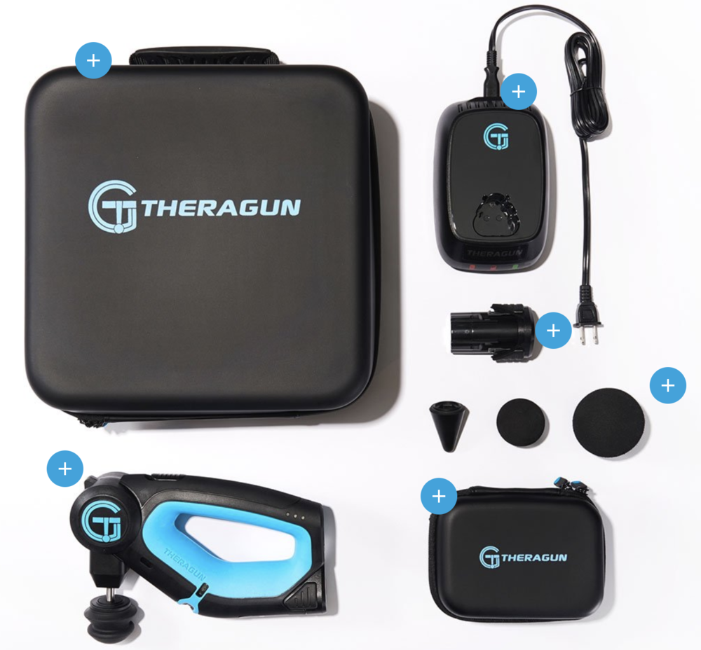 The  Theragun G2PRO kit  is a complete package including a carrying case, charger and spare battery.