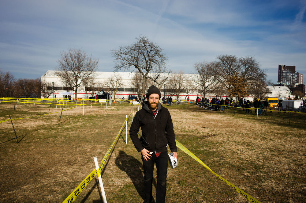 Roll of tape in hand at the first ever Rainey Park Cyclocross race (from  this Journal entry )