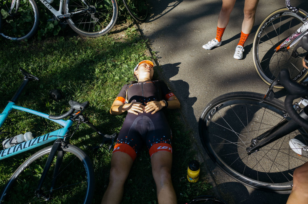 """Lucia recovering following one of the CRCA Women's Club Series races, from  """"CRCA Women's Club Racing is Fire"""""""