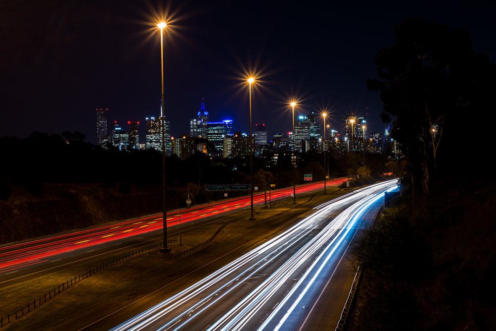 Nikon D610, Nikkor 50 1.8G, 25', ISO-100. Light trails and Melbourne skyline.