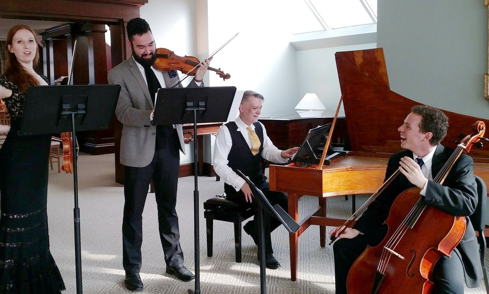 English Concert American Fellows Augusta McKay Lodge, Jeffrey Girton, and Kieran Campbell, with guest harpsichordist Bradley Brookshire, rehearse for a performance at The Metropolitan Museum of Art.