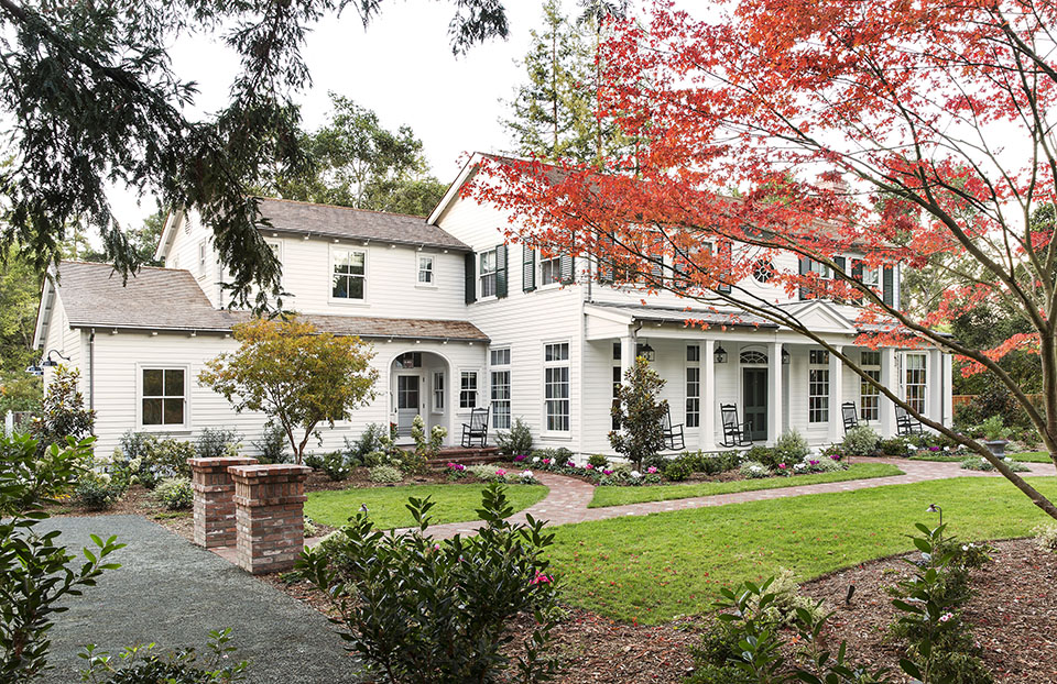 Los Angeles architect  Tim Barber Ltd.  designed this Colonial Revival custom residence in Atherton, CA.