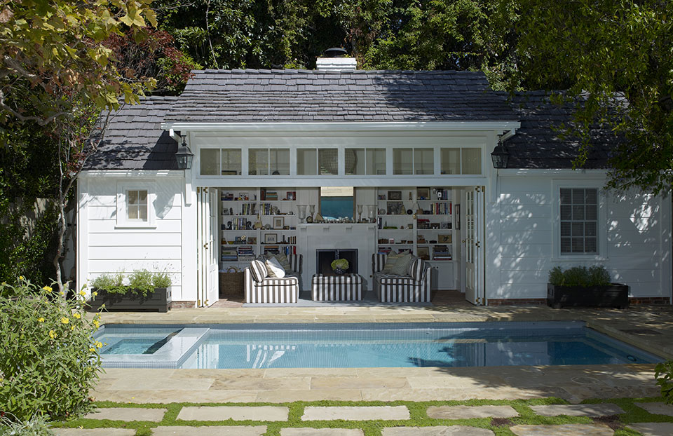 Los Angeles architect  Tim Barber Ltd.  designed this custom pool house and guest house in Brentwood.