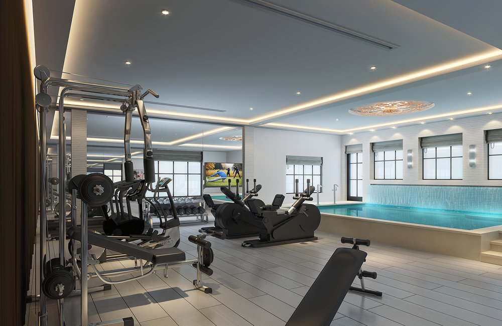 A rendering of the basement gym with the combination mikveh-pool at the right.  Rendering by  Birgit Klein Interiors .