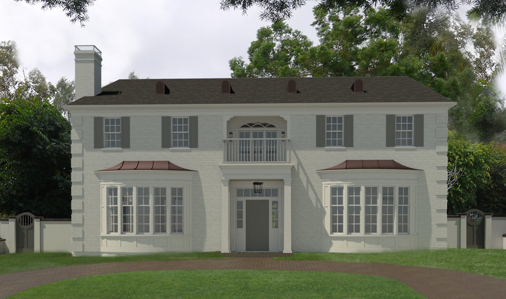 A three-dimensional Revit model of a custom new home in Beverly Hills, designed by project manager  Katie Peterson , 2017.