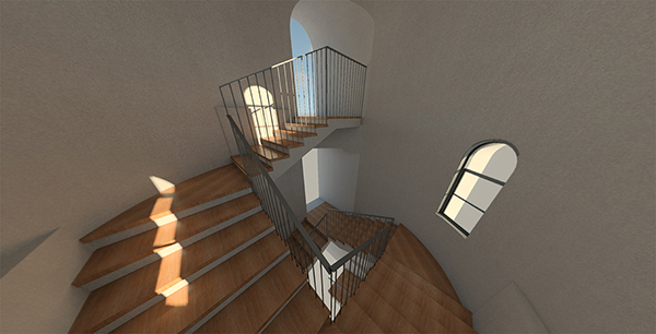 CLICK IMAGE TO OPEN INTERACTIVE PANORAMA IN A NEW WINDOW.  Stereo panorama rendering of an interior stair tower in a ground-up residence in Arcadia, California. This virtual reality tool allows us to show our clients what their home will look like from the perspective of being in the space. Panorama rendering by  Bill Zahurak , 2017.
