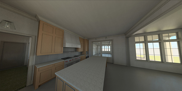 CLICK IMAGE TO OPEN INTERACTIVE PANORAMA IN A NEW WINDOW.  Stereo panorama rendering of a kitchen from a ground-up residence in Beverly Hills. Panorama rendering by  Katie Peterson  and  Bill Zahurak , 2018.