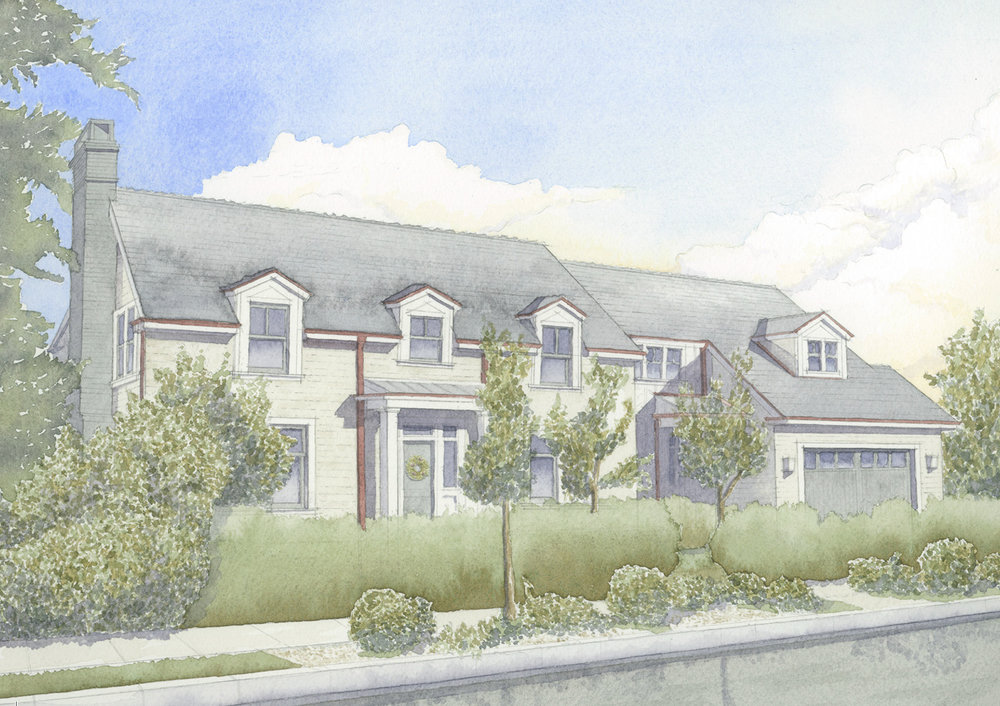 A watercolor rendering of a ground-up Colonial Revival residence in Hollywood designed by senior project manager  Korey Kromm  and painted by project manager  Jim Coyle , 2017.