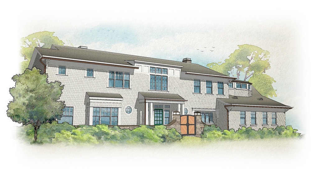 """A digital """"watercolor"""" rendering of our  Shingle style residence in Beverly Hills , designed by  Tim Barber  and rendered by design associate  Julie Luu , 2018."""
