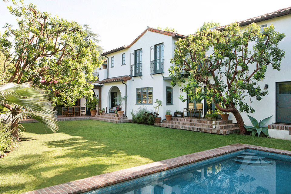 Spanish Colonial Revival Residence Back Yard with Pool