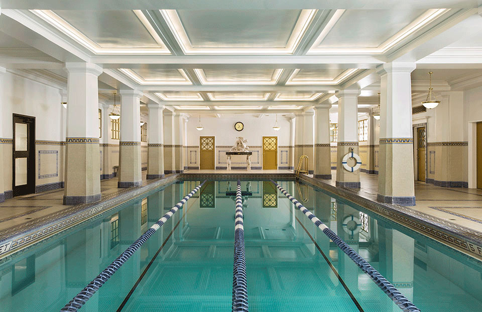 The historic renovation of the Jonathan Club's natatorium in Downtown Los Angeles by Tim Barber Ltd. Architecture.