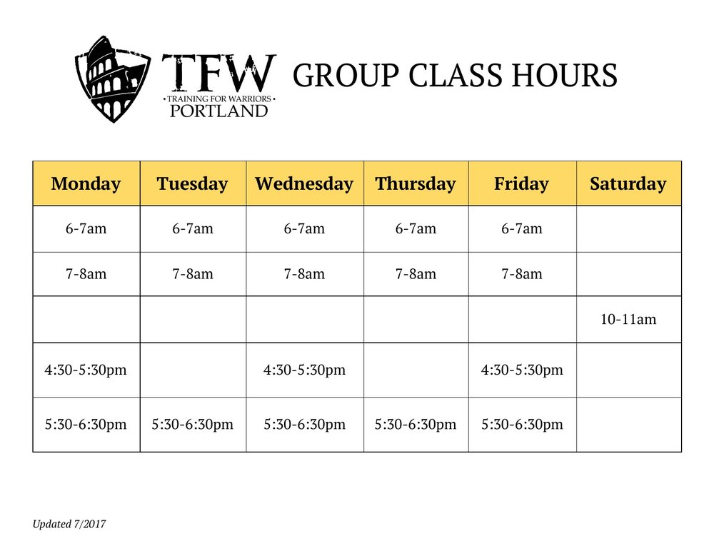 Training for Warriors Portland group training schedule