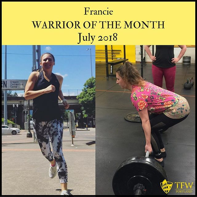 Francie has displayed the most important skill for success since day one: COMMITMENT. She decided to show up as much as possible to maximize her opportunity to grow. 📈  She has learned how to squat, push, pull, sprint and lift heavy in the last few months, and as a result has cut more than 5% bodyfat among numerous other personal bests. 🔥  She lives the TFW value of verdade— truth. Way to go, Francie! You are our July Warrior of the Month. 👏👏👏 . . .  #mobility #culture #change #colloboration #strengthcoach #trainingforwarriorsportland #tfw4life #pdxfit #pdxstrength #pdxfitness #portlandhealth #health #fitness #fitfam #grit #tough #gymlife #gym #functionalstrength #training #coach #work #fatloss #workout #discipline #mentalgains #disciplineequalsfreedom #getafterit #gratitude